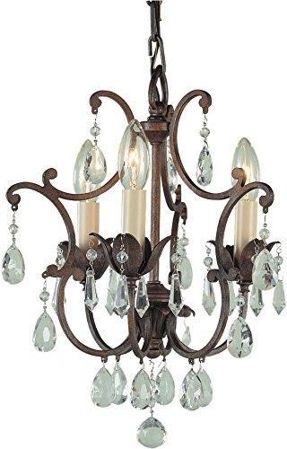 - Feiss F1880/3BRB Maison De Ville Crystal Mini Candle Chandelier Lighting, Bronze, 3-Light (11