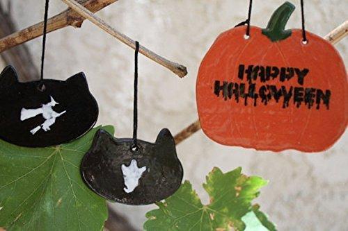 [Happy Halloween Ornament set of 3 handmade ceramic halloween sign black cat witch pumpkin ghost halloween decoration door hanger halloween] (Outdoor Halloween Ideas)