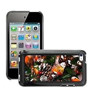 Etui Housse Coque de Protection Cover Rigide pour // M00113865 Animal Pájaro Celebración de Navidad // Apple ipod Touch 4 4G 4th