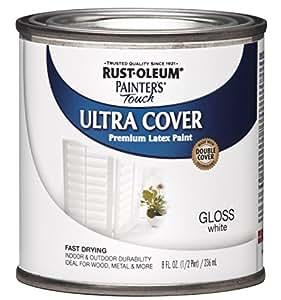 Rust-Oleum 1992730 Painters Touch Latex, Half Pint,  Gloss White