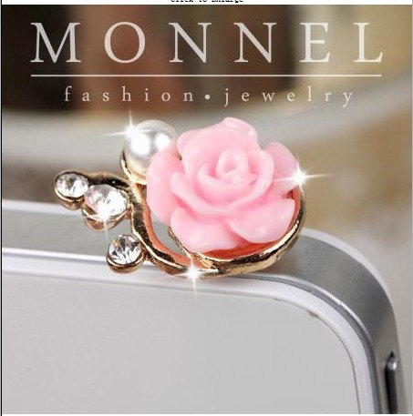 Ip07b Adorable Pink Style Rose Anti Dust Phone Plug Cover Charm for Phone 3.5 Mm