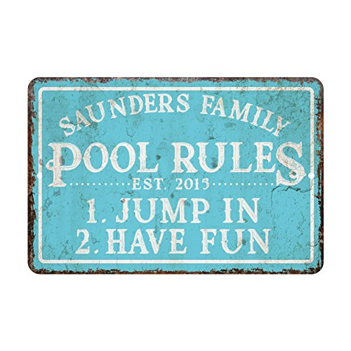 Personalized Vintage Distressed Look Pool Rules Metal Room Sign -