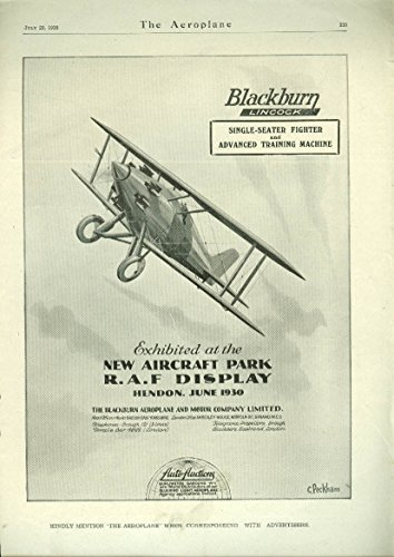Blackburn Lincock Single-Seater Fighter/ Trainer biplane ad - Seater Trainer