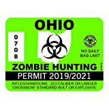 """RDW Ohio Zombie Hunting Permit - Color Sticker - Decal - Die Cut - Size: 4.00"""" x 3.00"""""""
