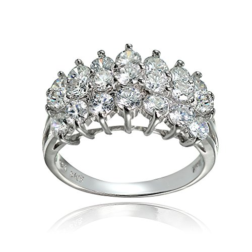 (Sterling Silver Cubic Zirconia Three Row Half Eternity Anniversary Ring, Size 9)