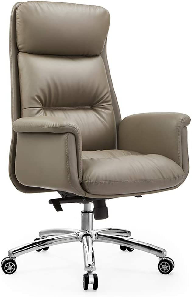 Aoyo Leather Boss Chair Business Simple Computer Chair, Home Comfortable Executive Chair Office Chair, Reclining Swivel Chair with Backrest(Color:Khaki-Cowhide)
