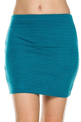 Casual Solid Textured Bodycon Slim Knit Stretch Tight Mini Skirt (Small, (Textured Stretch Knit)