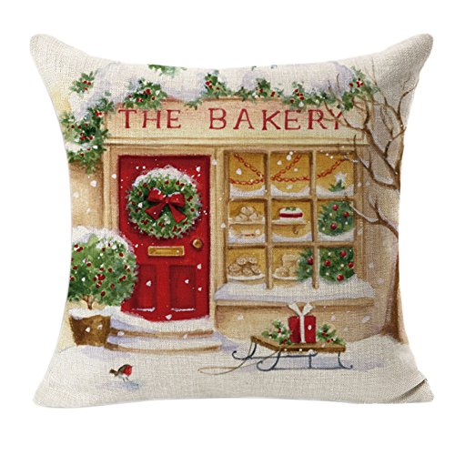 Evergreen Dinnerware Collection - JPJ(TM) ❤Pillow Cover❤1pcs Christmas Hot Fashion Linen Square Throw Flax Pillow Case Decorative Cushion Pillow Cover (Beige)