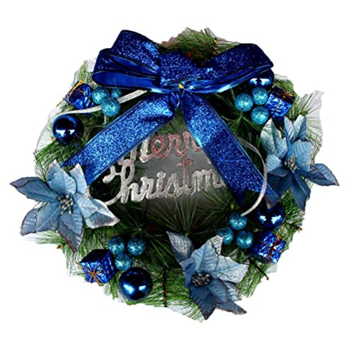 unyielding1 Pre-Decorated Ornaments Berries Pinecones and Braiding Holiday Artificial Wreath(Blue 3030cm) -
