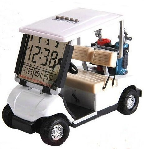 LCD display Mini Golf Cart clock Race souvenir novelty golf gifts (white) (1)