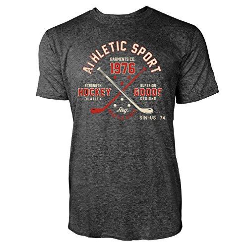 Sinus Art ® Herren T Shirt Athletic Sports ( Heather_Dark_Grey ) Crewneck Tee with Frontartwork