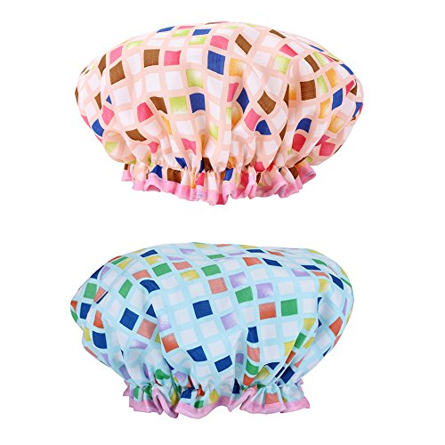 Shower Cap, Double Waterproof Layers Bath Shower Hat,Trendy Fashion Design EVA Bathing Shower Caps for Women,Pack of 2,Blue & Pink ...