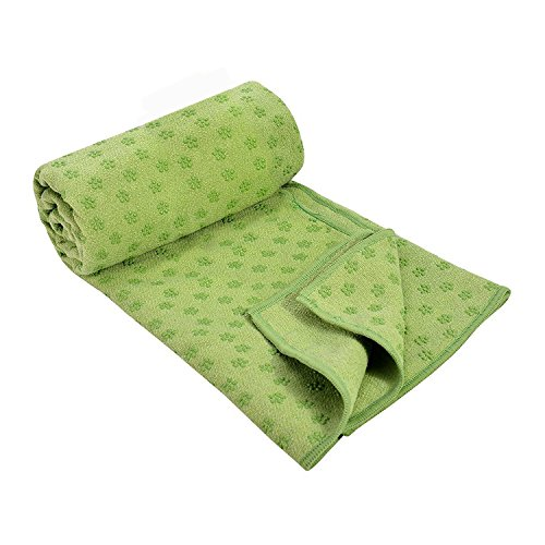 DREAM SLIM Gosweat Hot Yoga Towel- Super Absorbent, 100% Microfiber, Anti-Slip, with Silicon Gel dots, Suede, Best Bikram/HOT Yoga (Green) ()
