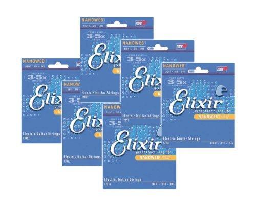 Elixir Strings 12052 Nanoweb Electric Strings .010-.046w Light - - Nanoweb Guitar Light 12052 Electric