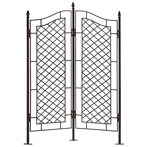 H Potter Large Trellis Wrought Iron Two Panel Ivy Garden Screen - Iron Cast Wrought Garden Decor