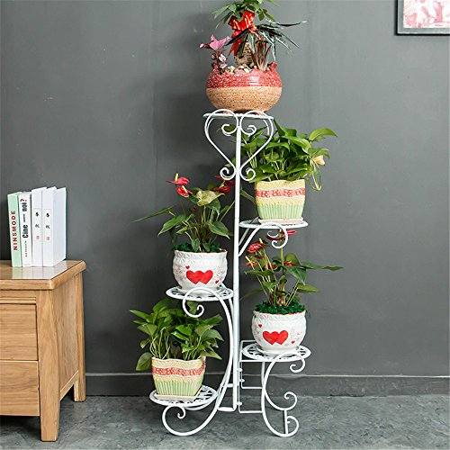 Multi-Storey Subway Art Flower Racks Balcony Living Room Stairs, White, Five Floor Plant Multifunctional Flower Display Stands Wood Pot Shelf Storage Rack Outdoor Indoor Pots Holder Thanksgiving (Chr Stand)