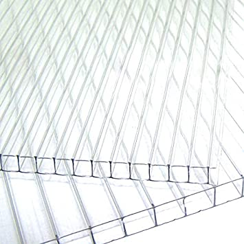 UV Resistente a 2 Pareti Spessore 4 mm Lastra di Policarbonato Pannello Piastra di Policarbonato Set da 15 per Serra Alveolare Trasparente 121 x 60,5 cm 11 m/²