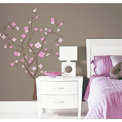 Lunarland PINK CHERRY BLOSSOM TREE Wall Stickers Flowers Decals (Cherry Colored Wallpaper)