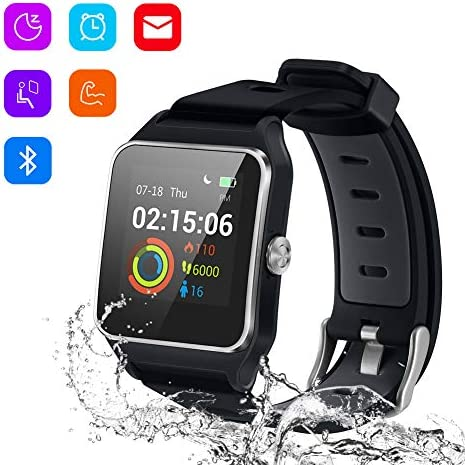 Enow Smart Watch, GPS IP68 Waterproof Touch Screen Fitness Bluetooth Tracker with 24h Heart Rate Monitor, Sleep Tracker, 17 Sports Mode, Pedometer Step Calories Counter for Women Men, Android iOS
