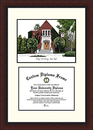 Campus Images ''Michigan State Alumni Chapel University Legacy'' Scholar Diploma Frame, 8.5'' x 11'' by Campus Images