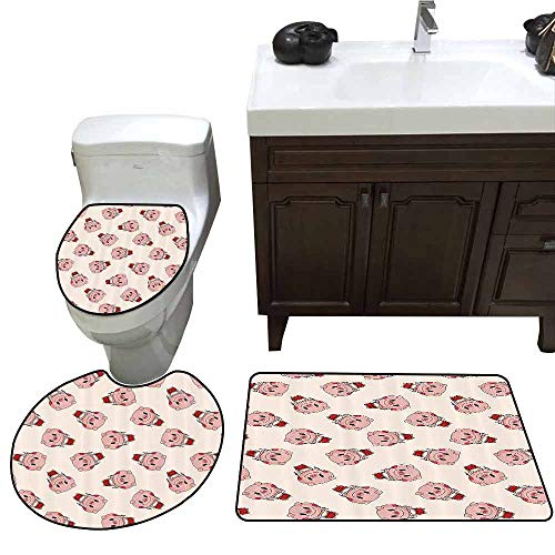 3 Piece Toilet Cover Set Pig Decor Collection Pig Playing Drum Music Instrument Cartoon Performance Animal Orchestra Image Customized Rug Set White Salmon Red