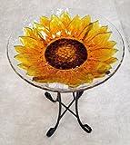 18%22 Sunflower Glass Bowl%2Fbirdbath an
