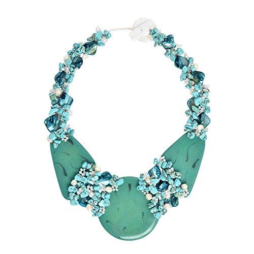 - AeraVida Mystique Moon Simulated Turquoise Slab Statement Necklace