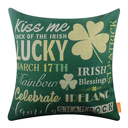 LINKWELL Pillow Cover St. Patrick Day Seasonal Gifts Burlap Decorative Cushion Cover 18x18 inches - Fashion Green Irish Blessings CC1559]()