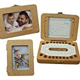 Baby Tooth Keepsake Box, FOONEE Wooden Kids Keepsake Organizer with Photo Frame, Deciduous Teeth Saver Boxes Wooden Fairy Tooth Keeper Collection Box with Tweezers to Keep Memory,Rectangle Box