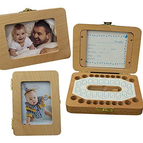 (MOGOI Baby Tooth Box, Wooden Baby Teeth Keepsake Box, Kids Tooth Storage Holder Organizer to Keep The Childwood Memory)