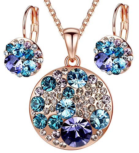 (EVEVIC Ocean Bubble Made with Swarovski Crystals Multi-Stone Round Disc Pendant Necklace Earrings Jewelry Set (Purple Main Crystal/Rose Gold-Tone))