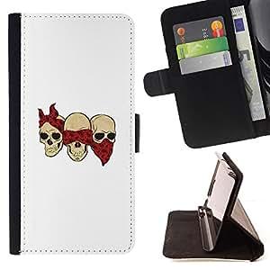BullDog Case - FOR/Apple Iphone 6 / - / SKULL GANG FUNNY WHITE SCARF RED /- Monedero de cuero de la PU Llevar cubierta de la caja con el ID Credit Card Slots Flip funda de cuer