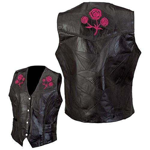 Diamond Plate Ladies Genuine Buffalo Leather Vest Lg
