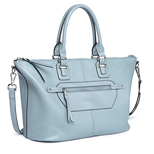 (BOSTANTEN Genuine Soft Leather Handbags for Women Tote Shoulder Purse Crossbody Bags Light Blue)