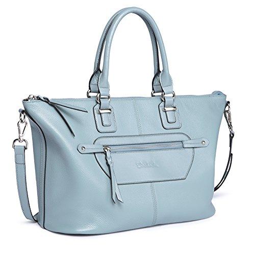 (BOSTANTEN Genuine Soft Leather Handbags for Women Tote Shoulder Purse Crossbody Bags Light Blue )