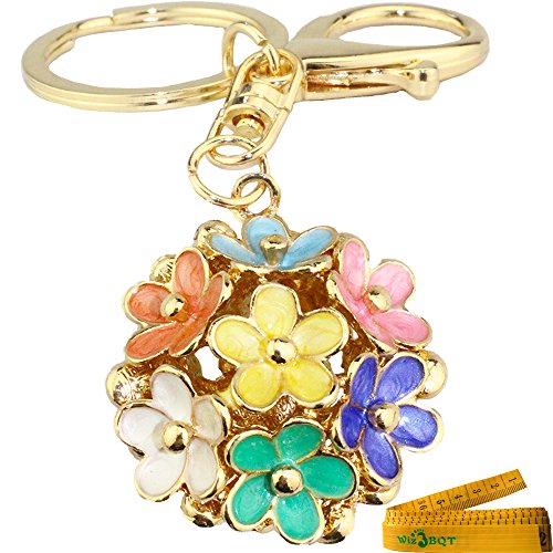 Lucky Fortunate 5 Leaf Clover Ball Shaped Engraved 3D Alloy Metal Keychain Key Ring Purse Bag Car Cell Phone Decor Pendant Ornament (Rainbow)