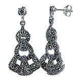 Intricate Art Nouveau 925 Sterling Silver Natural Marcasite Gemstones Earrings