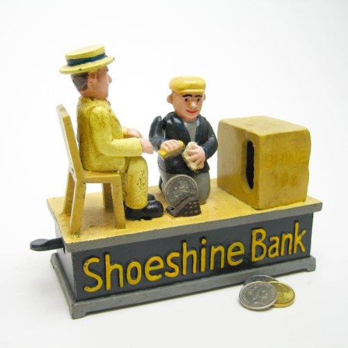 1920S Style Antique Replica Shoe Shine Collectors Die Cast Iron Mechanical Coin Bank   Antique Collectible Gift