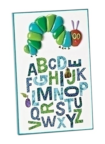 Roman 7 Inch Tall Alphabet Table Plaque from The World of Eric Carle, Featuring The Letters of The Alphabet and a Caterpillar That is Relief (Relief Plaques)