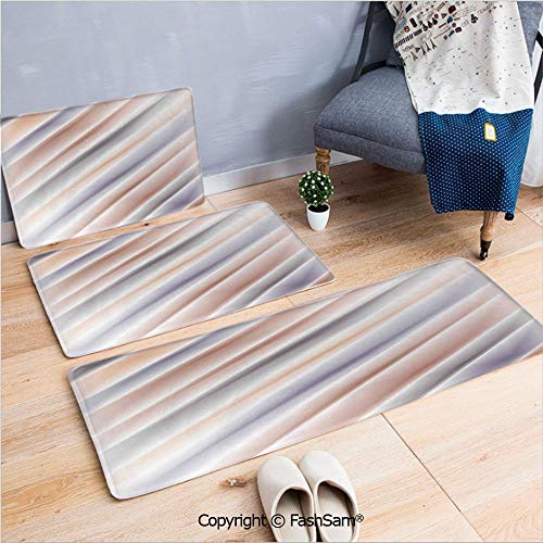 FashSam 3 Piece Non Slip Flannel Door Mat Hazy Gradient Digital Pale Layout New Counter Culture Art Print Indoor Carpet for Bath Kitchen(W15.7xL23.6 by W19.6xL31.5 by W15.7xL39.4) ()