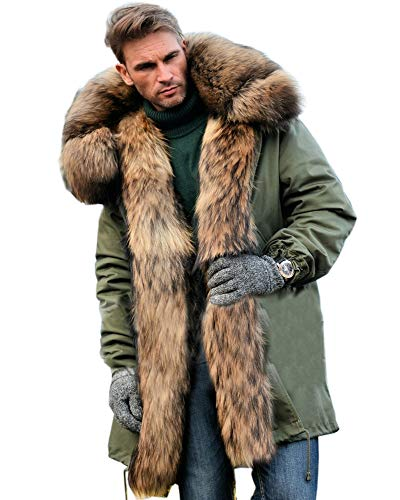 Aofur Mens Winter Warm Thick Faux Fur Slim Trench Coat Long Jacket Parka Hooded Pea Coat Winter Coat S-XXXL (XXX-Large, Green) (Trench Coat Men With Fur Hood)