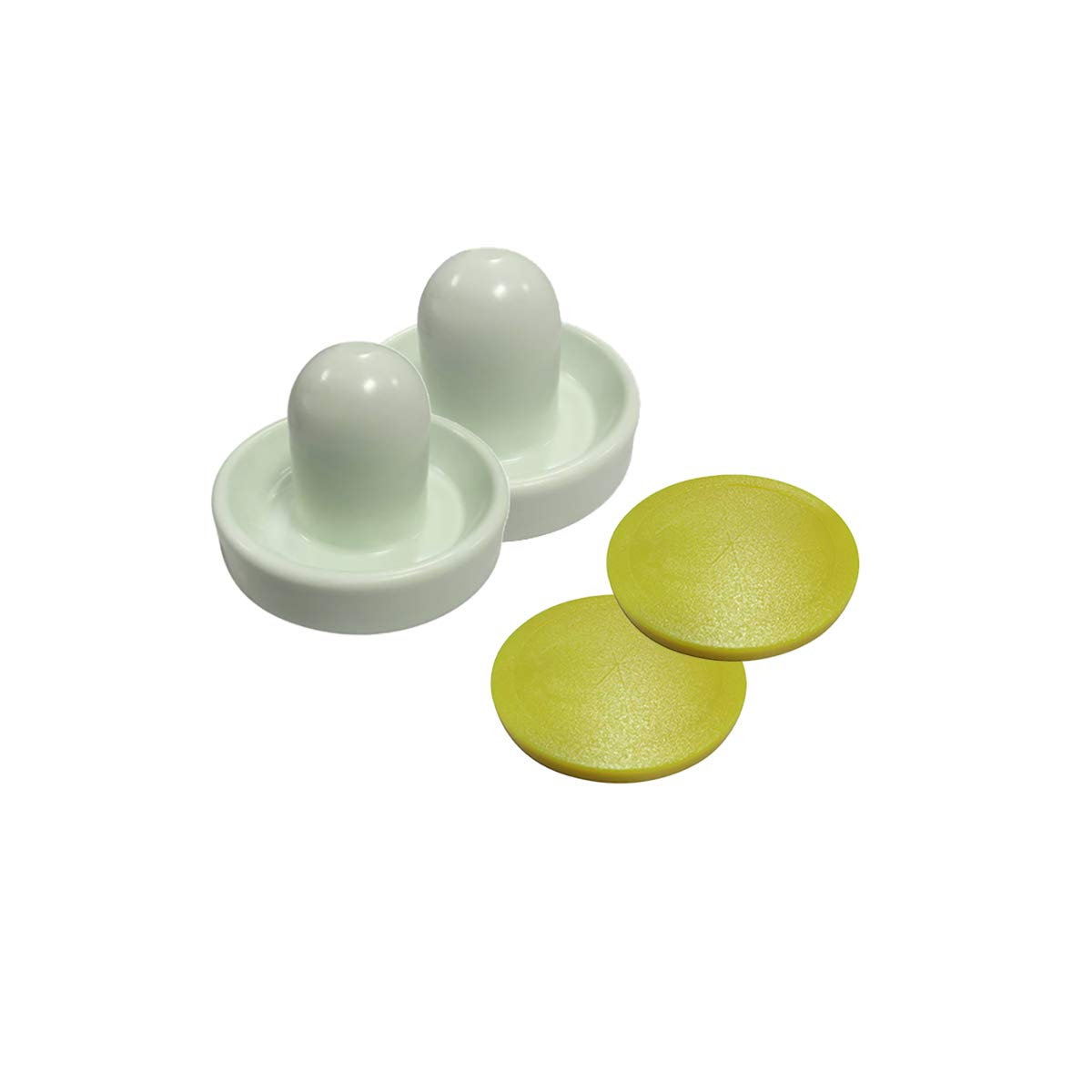 Shelti Gold Standard Kit of (2) Mallets and (2) Yellow Air Hockey Pucks by Gold Standard Games
