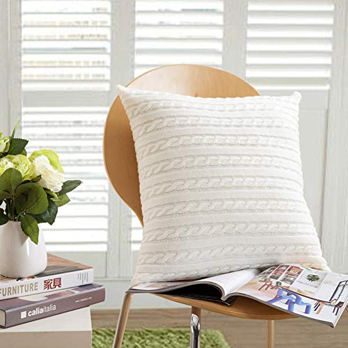 Cable Knitting Throw Pillowcase 18 x 18inch Super Soft 100 Cotton Breathable Sweater Cushion Cover Square Knitting Home Decorative Pillowcase\Cream by ()