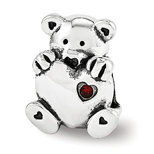 eddy Bear with Heart Charm in Sterling Silver (Crystal Accent Teddy Bear)