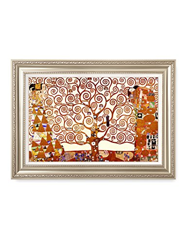DecorArts- The Tree of Life, Gustav Klimt Art Reproduction, Giclee Print on Canvas, Museum Framed Art for Home Decor, Finished Size: 36x26