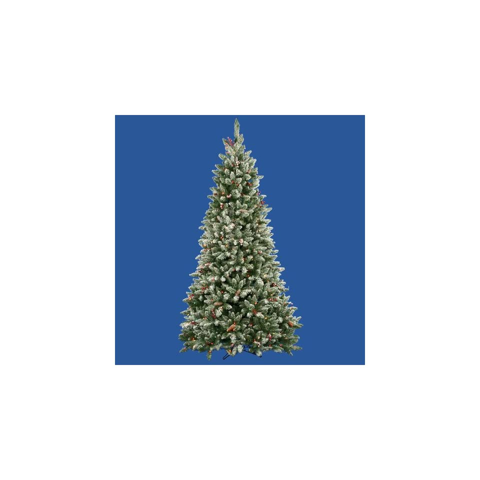 7.5 Pre Lit Frosted Edina Fir Cones & Berries Christmas Tree   Clear Lights