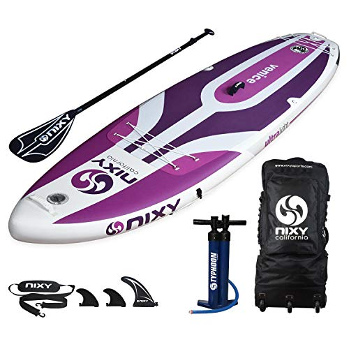 NIXY Venice SUP Inflatable Stand Up Paddle Board. Yoga & Beginner Lightweight iSUP built with Dual Layer Fusion Dropstitch. All Accessories included Paddle, Leash, Pump, Should Strap, Carry Bag | 10'6 (Best Sup Boards For Beginners)