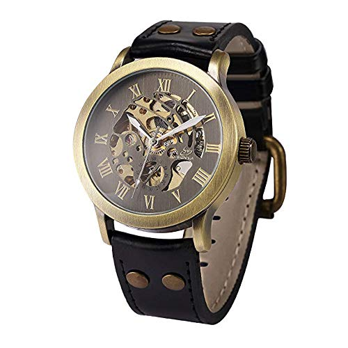 Full time 24 Mechanical Vintage Bronze Case Automatic Mechanical Skeleton Brown Leather Band Men