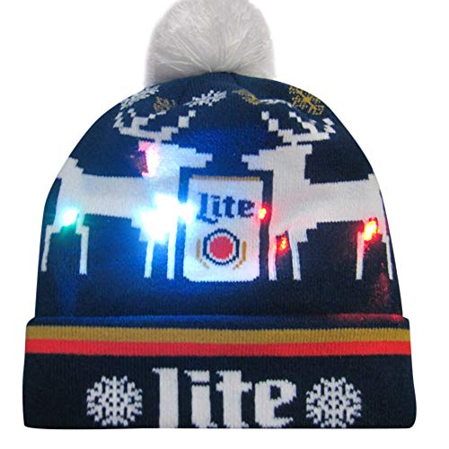 Hoshell_Headwear Colorful Merry Christmas LED Light-up Hat Knitted Ugly Holiday Cap with Pom Pom (A)
