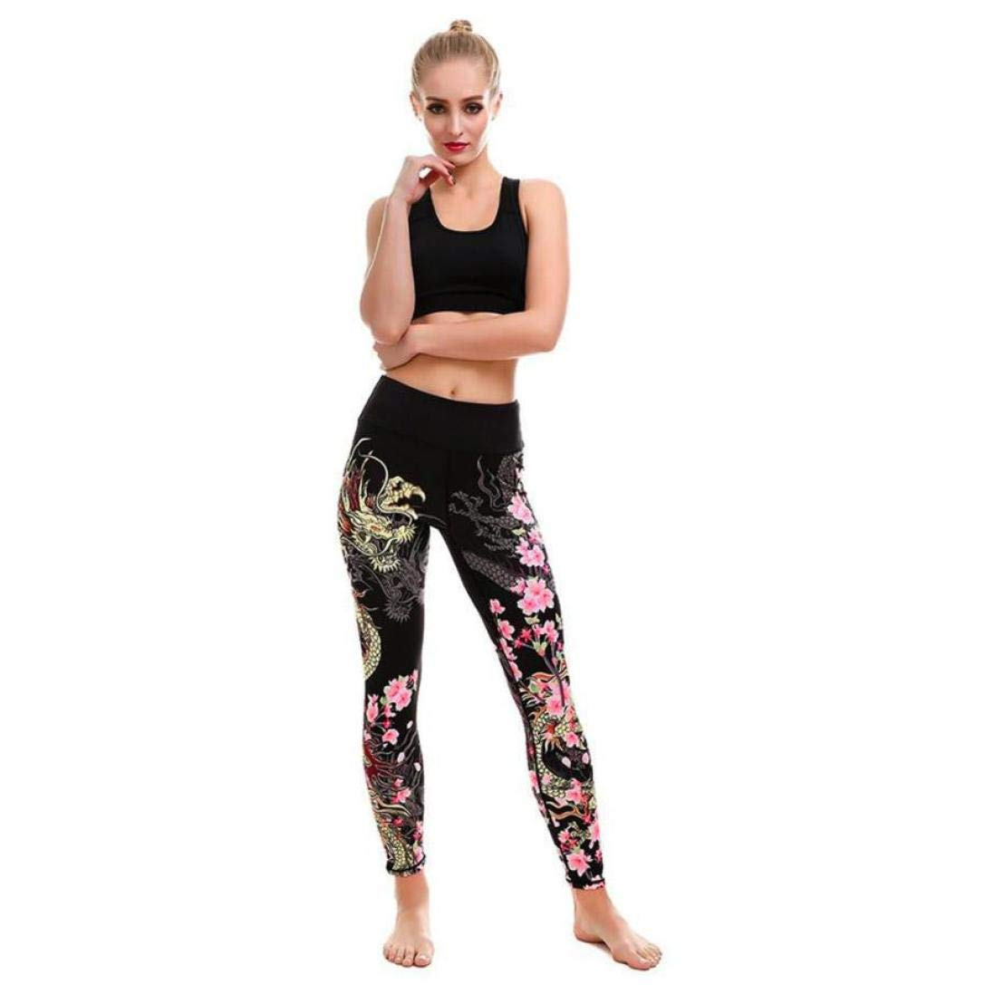 iYBUIA Women High Waist Print Sports Gym Yoga Running Fitness Leggings Pants Athletic Trouser(Black ,L)